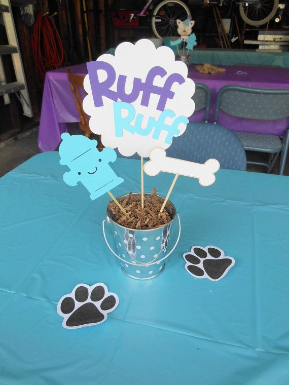 This listing is for ONE of the pictured dog themed centerpieces, fully assembled. The ruff ruff sign measures approx. 7-8 inches, the bone