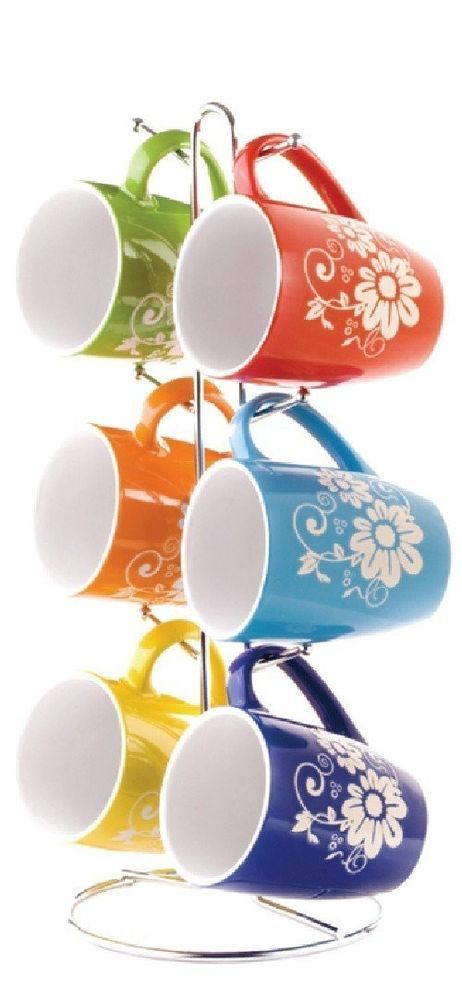 coffee mugs kitchen dishes tea cups floral stoneware 6 pc set stand cup tree new