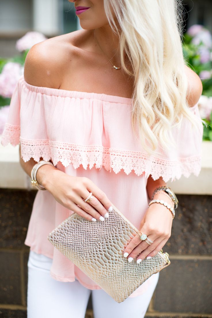 Photography by Paige Winn Top: Iona Off The Shoulder Top | Clutch: Faux Python Crossbody Wristlet | Earrings: Turquoise Shimmy Tassel Earring | Necklace: Trinity Hearts Pendant | Bracelets: Rose Gold Grecian Wreath Slip and Pull Bracelet