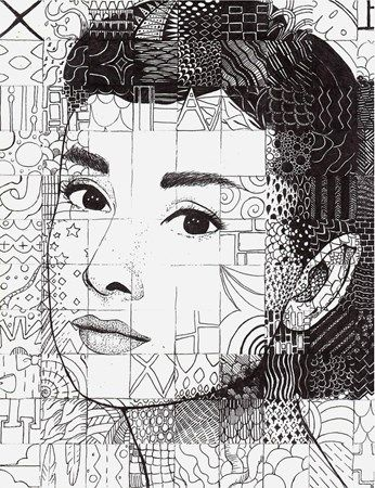 Pen and Ink Doodle Portraits - Conway High School Art Project