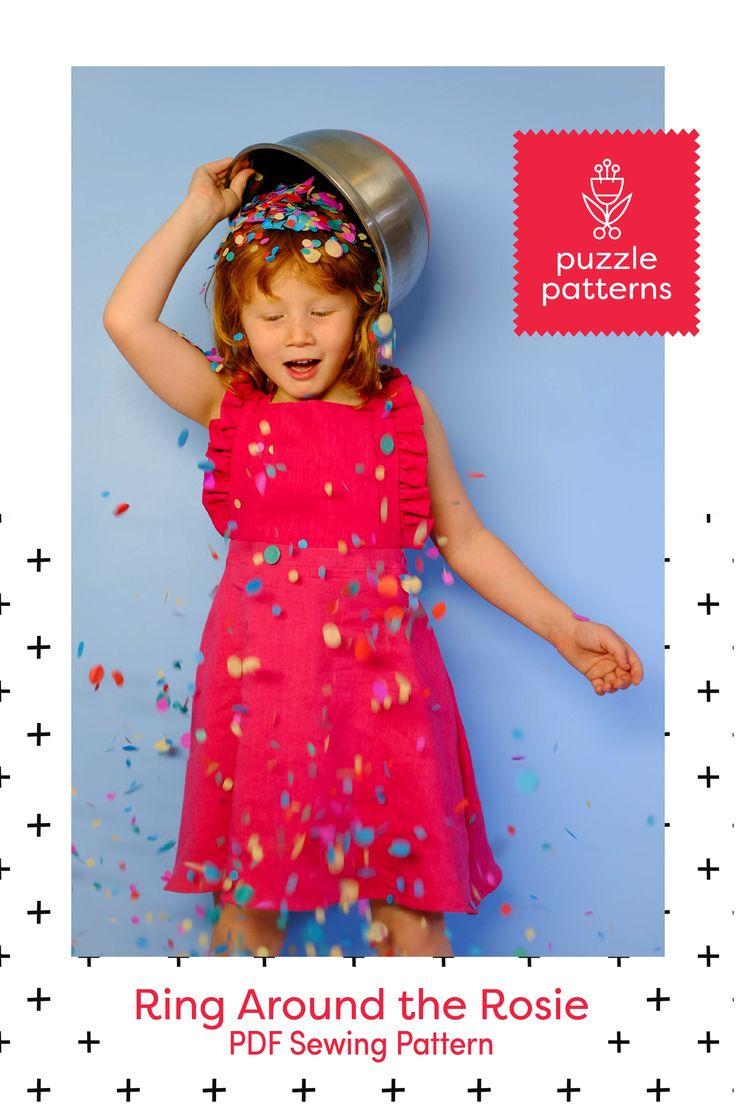 PDF sewing pattern, unisex, girls, boys, romper, pinafore, dress, ruffles.