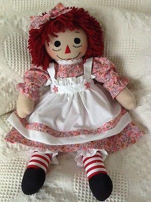 Handmade Raggedy Ann doll, pink floral print dress