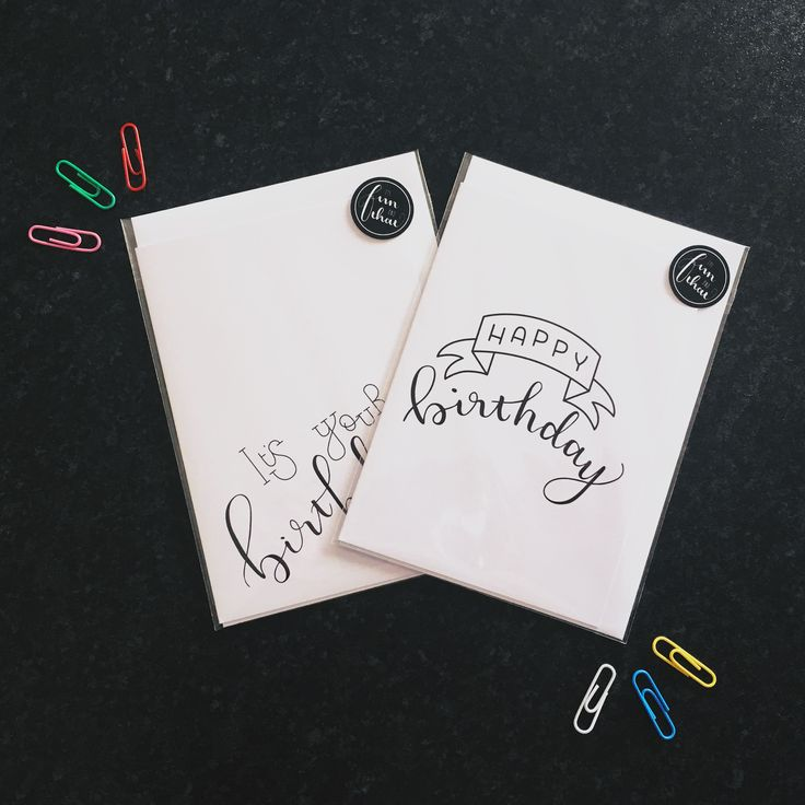 It's Your Birthday & Happy Birthday brush lettered greeting card. 100% recycled A6 white 300gsm - in stock now!