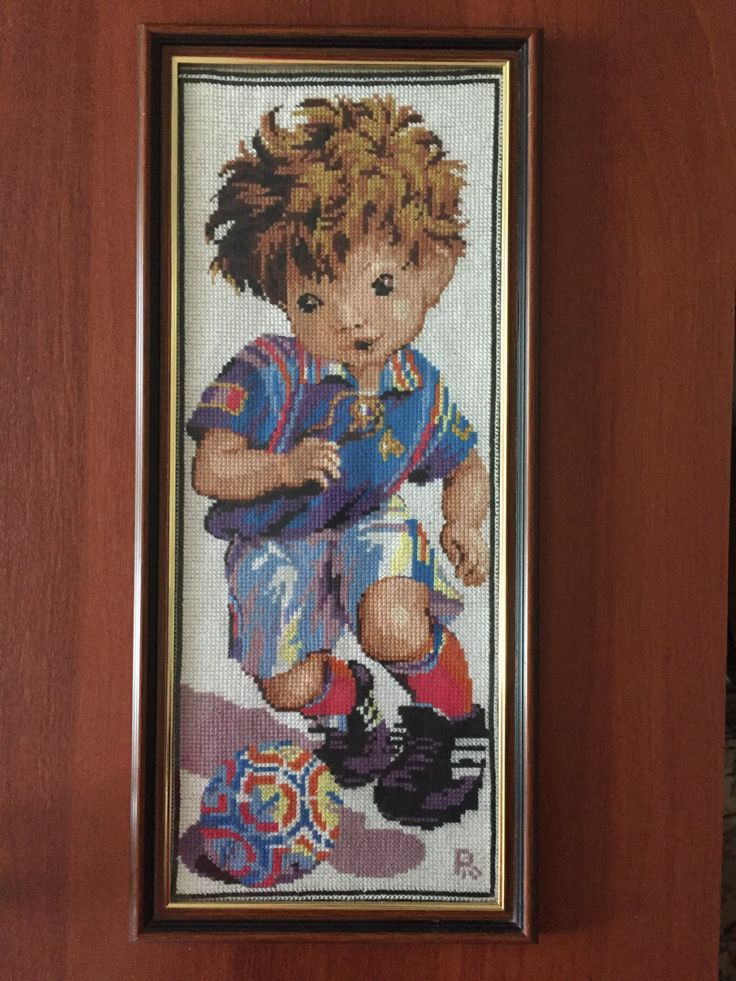 """Completed cross stitch, Home decoration, Framed cross stitch, Handmade embroidery - """"Footballer"""". by NattikStudio on Etsy"""