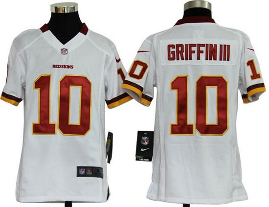 Nike Redskins #10 Robert Griffin III White Youth NFL Game Jersey