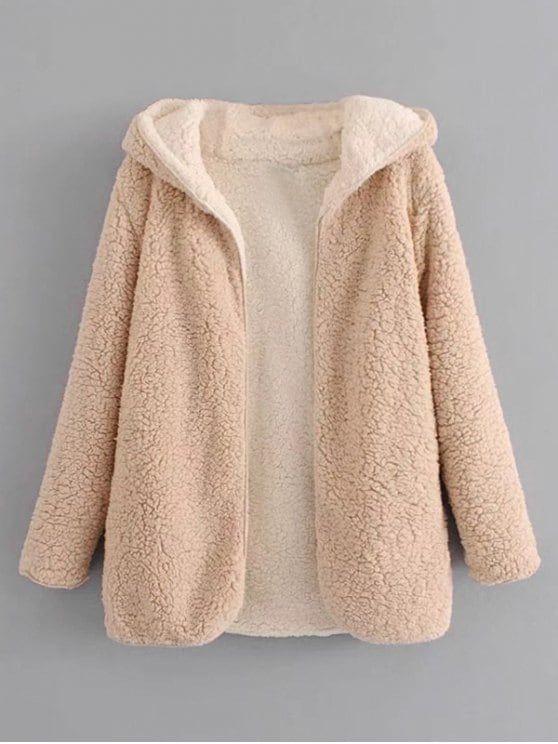 da20be13db3 Hooded Open Front Lamb Wool Teddy Coat in 2019 | JACKETS & COATS | Faux fur  hoodie, Teddy coat, Wool coat