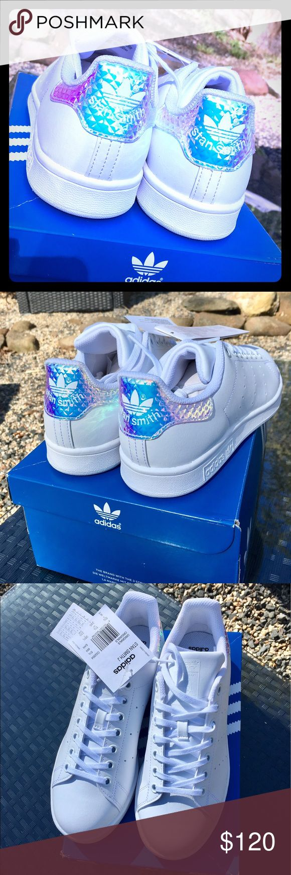 Adidas Original Stan Smith 3D Diamond Iridescent Rare!  Imported from Italy and not available in the USA. OrthoLite. Size 38 euro or 7.5 US women's/6 US men's. Adidas runs large so these fit like US Womens' 8.5. Fantastic holographic, 3D diamond pattern, iridescent quilted back heel, white leather, white sole. Clean, simple, bling back!  Brand new with tags and in box. Adidas Shoes Sneakers