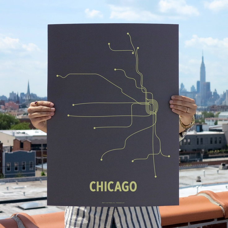 Fab 60s Artwork: Chicago Screen Print Dark Gray By LinePosters