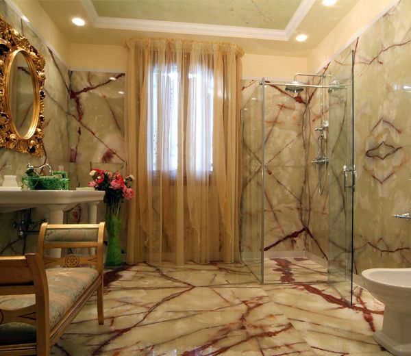 Bathroom Green Onyx Tiles On Walls And Floor Dream
