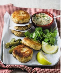 old-fashioned fish cakes Serves 4 Takes 25 mins 250g potatoes, peeled, cooked and mashed 440g tin sardines, middle cuts, flaked 1 small onion, finely chopped 1 celery stick, finely chopped FOR THE CRUMB 125ml cake flour 1 egg 15ml milk 310ml breadcrumbs 6