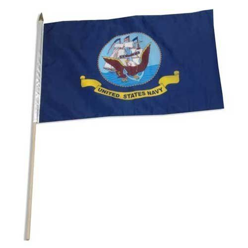 """Navy Flag 12in x 18in Mounted on 24in Wooden Stick by US Flag Store. Save 34 Off!. $2.10. A Quality Printed Flag with Sewn Edges. Low Cost Shipping Available!. Mounted on a 24"""" Wooden Stick with a Spear Tip. Made Outside of the US. Navy Flag. High quality Navy Flag 12 x 18 inch, mounted on a 24 inch wooden stick. This state flag is made from polyester and printed in bright colors. The flag is attached to the stick with a sleeve and not staples. Each flag is individually sewn a..."""