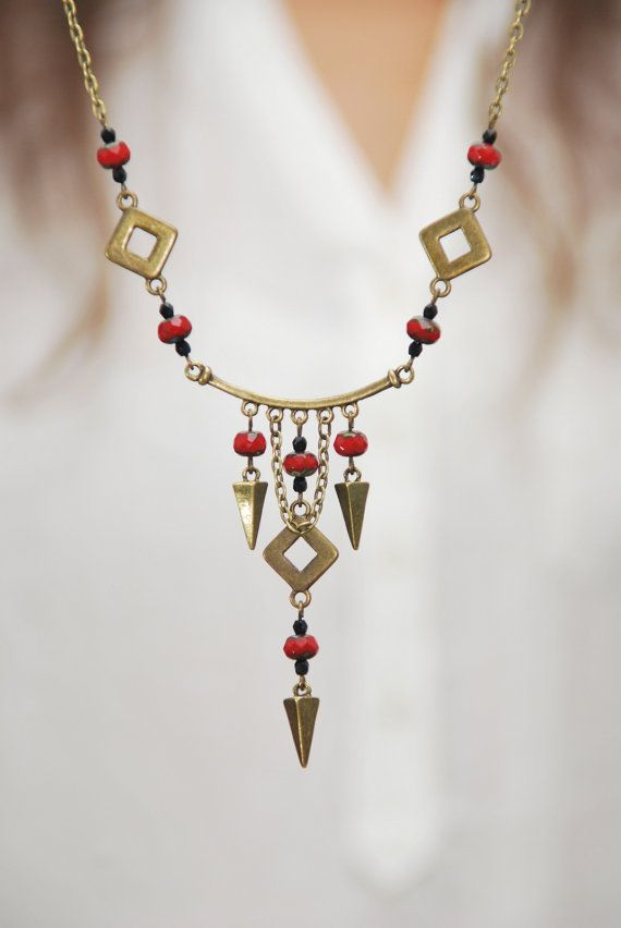 Rustic red necklace Gypsy beads necklace Hippie Spike by Estibela