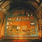 Deir el-Medina (Egitto), pitture murali dalla tomba di Sennedjem, 1500-1050 a.C. Sulla parete di fondo figurano anche alcuni momenti legati alla coltivazione di cereali.