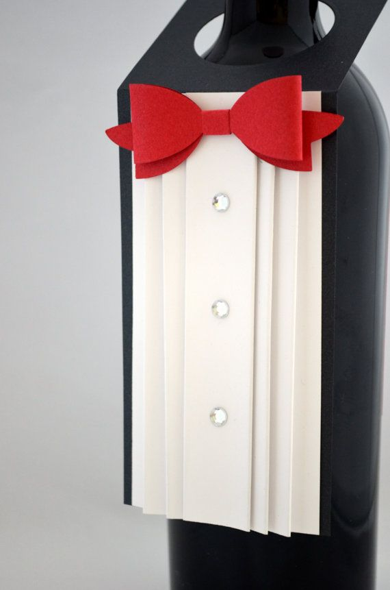Tuxedo Wine Bottle Tag with Red Bow Tie by APaperParadise on Etsy