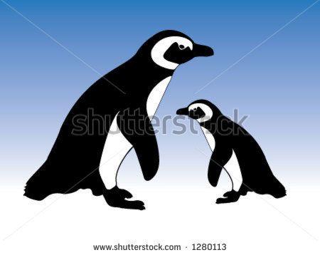 Pingüinos lindos de Magellanic, madre y un bebé