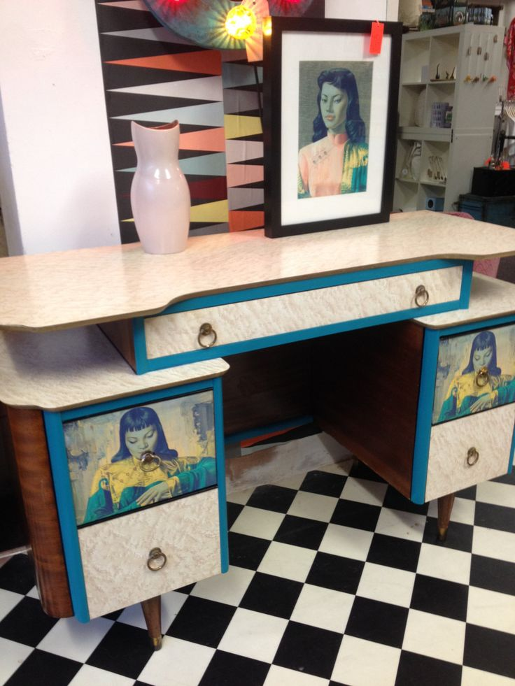 Delightful REDUCED Upcycled Retro Mid Century Sideboard/desk/dressing Table In Iconic  Vladimir Tretchikoff Prints
