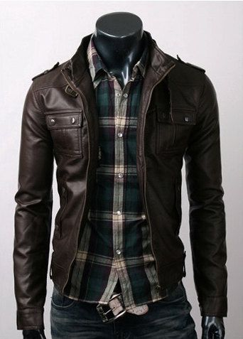 brown leather jacket. green plaid