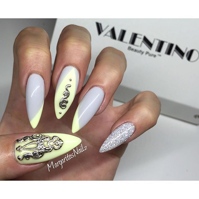 89 best nails images on pinterest nail design acrylic nails and pastel yellow any grey stiletto nails handmade silver nail jewelry prinsesfo Gallery