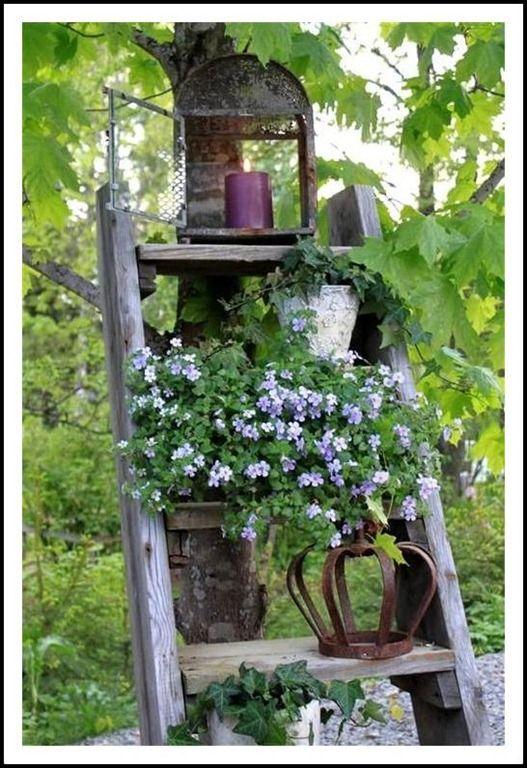 Weathered Wooden Step Ladder Garden Ladder D