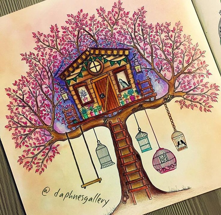 Treehouse Secret Garden Casa Da Arvore Jardim Secreto Johanna Basford Colouring TechniquesAdult ColoringColoring BooksColoring