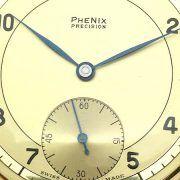 Gouden zakhorloge van het merk Phenix. Horloge is van 14 karaat geelgoud. Prachtig zakhorloge wat nog in nieuwstaat verkeerd. Horloge komt uit de jaren '50. Diameter van het horloge is 47 mm. Totaalgewicht van het horloge is 56,81 gram. Horloge loopt perfect op tijd. Zie de foto's voor een goede indruk. Swiss made