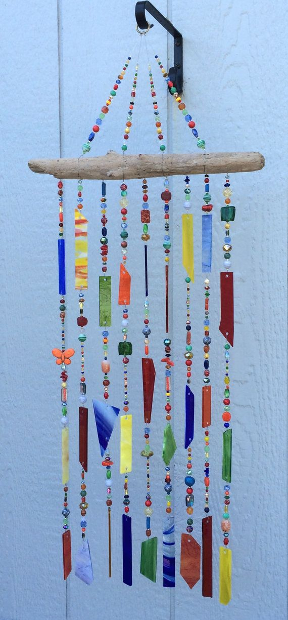 25 best wind chime images on pinterest driftwood ideas for How to make stained glass in driftwood