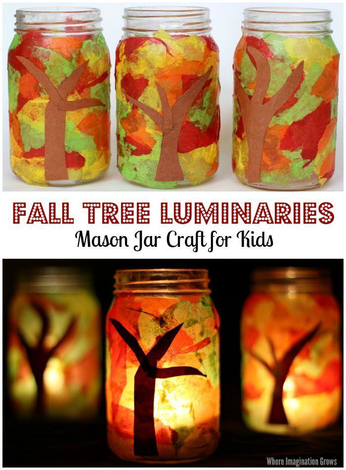 Mason Jar Fall Tree Luminaries Craft for Kids! A simple tissue paper craft that preschoolers will love! Makes a great handmade gift idea too!