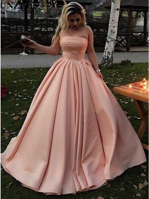 A-Line Strapless Sweep Train Long Pink Satin Prom Dress ...