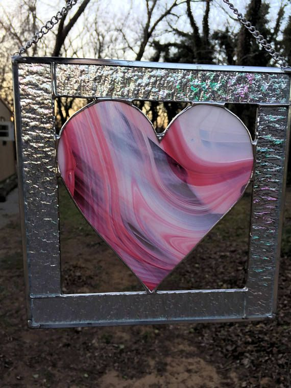 Contemporary Stained Glass Panel Stained Glass Suncatcher Pink Heart (PLG121) by PeaceLuvGlass