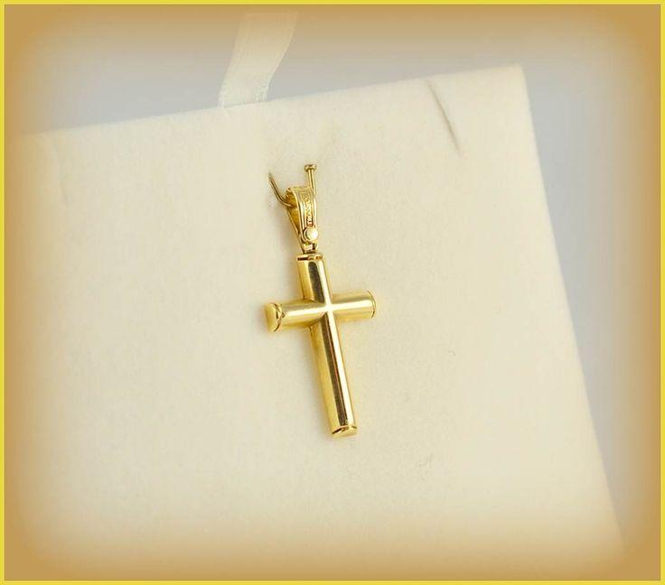 ΣΤ71Ν: Κομψός χρυσός σταυρός ιδανικός για βάπτιση τόσο για αγόρια όσο και για κορίτσια.