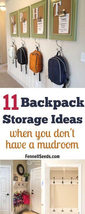 Backpack storage | Backpack storage ideas | Coat storage | Coat rack | coat hook | backpack hook | place for backpacks | mudroom organization | mudroom ideas