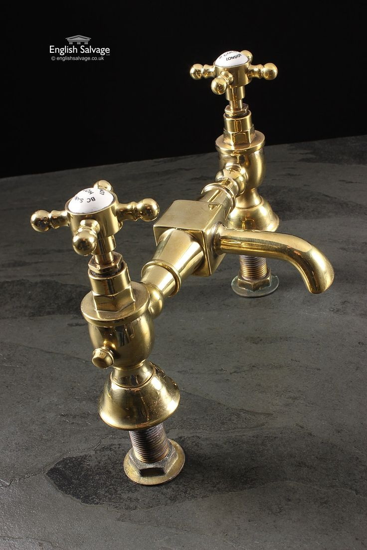 Shanks sink and stand reclaimed porcelain sinks and chrome stands - Refurbished Brass Mixer Basin Taps