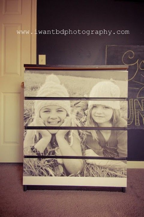 A very basic MALM IKEA dresser transformed into an adorable personalized piece by simply printing a photo in large scale and attaching to the drawers by iwantbdphotography.com #bedroom I really love this idea