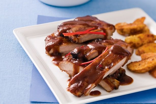 Pork ribs are a perennial favourite - these are slow-cooked so that they become a melt-in-the-mouth delight.