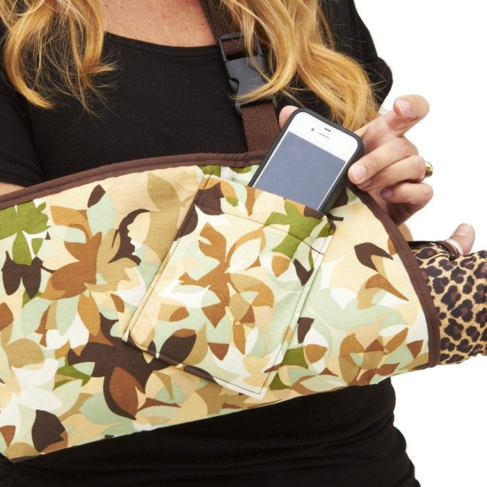 "CastCoverZ! Slingz!, fashion arm slings for your splint, brace, or cast, are available with NEW options! Vibrant trim colors to show your personality (standard trim is black) AND a handy cell phone pocket (both available for an extra charge.)  Pictured below in ""Key West"", with optional chocolate brown trim, and peeking out is our Armz! cast cover in ""Classic Cheetah"". ‪#‎sling‬ ‪#‎brokenbones‬ ‪#‎castcovers‬ ‪#‎armsling‬"