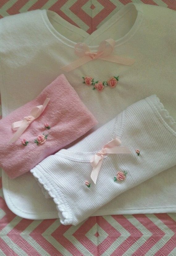 BABY GIRL vintage style hand embroidery roses 3 piece set bib singlet and washer