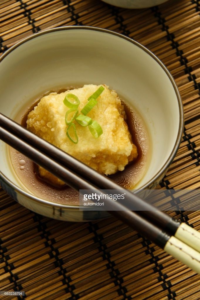 Deep fried silken tofu with homemade tsuyu sauce. Crispy on the outside, delicate in the inside, is the uniqueness of the texture. Can be served as side dish.