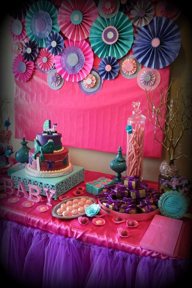 Pink Purple Turquoise, Its A Girl Baby Shower Party Ideas -8503