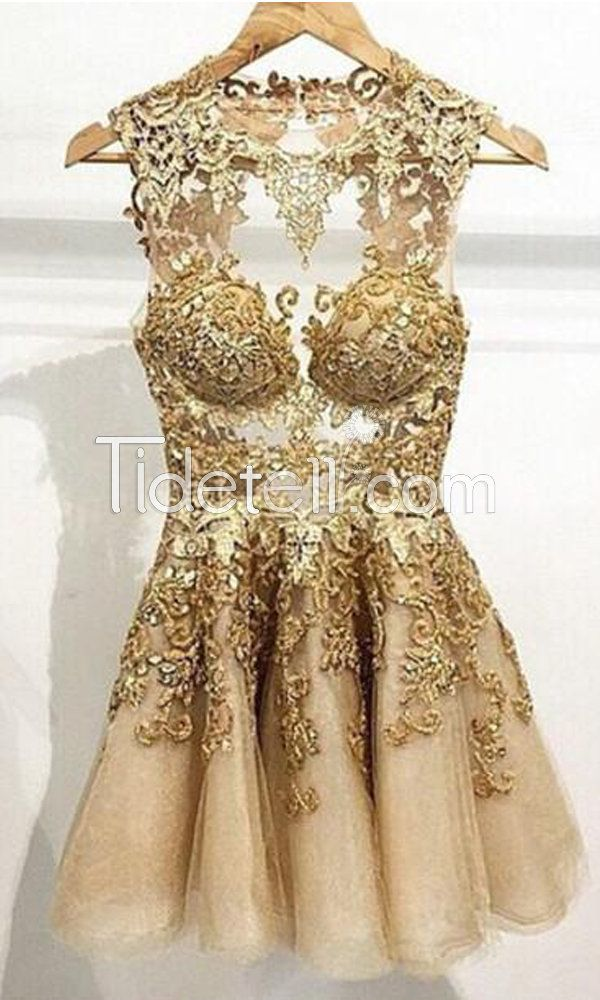 Hot A-line Jewel See Through Tulle Short Homecoming Dresses ?TT20160119 buy here