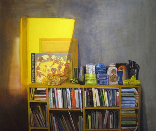 Interior with vases and books  -    Søren Martinsen , 2013.    Danish,b.1966-    Oil on linen, 125 x 150 cm.