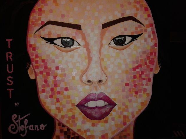 Trust by STEFANO acrylic on canvas fashion art Liu Wen 2014