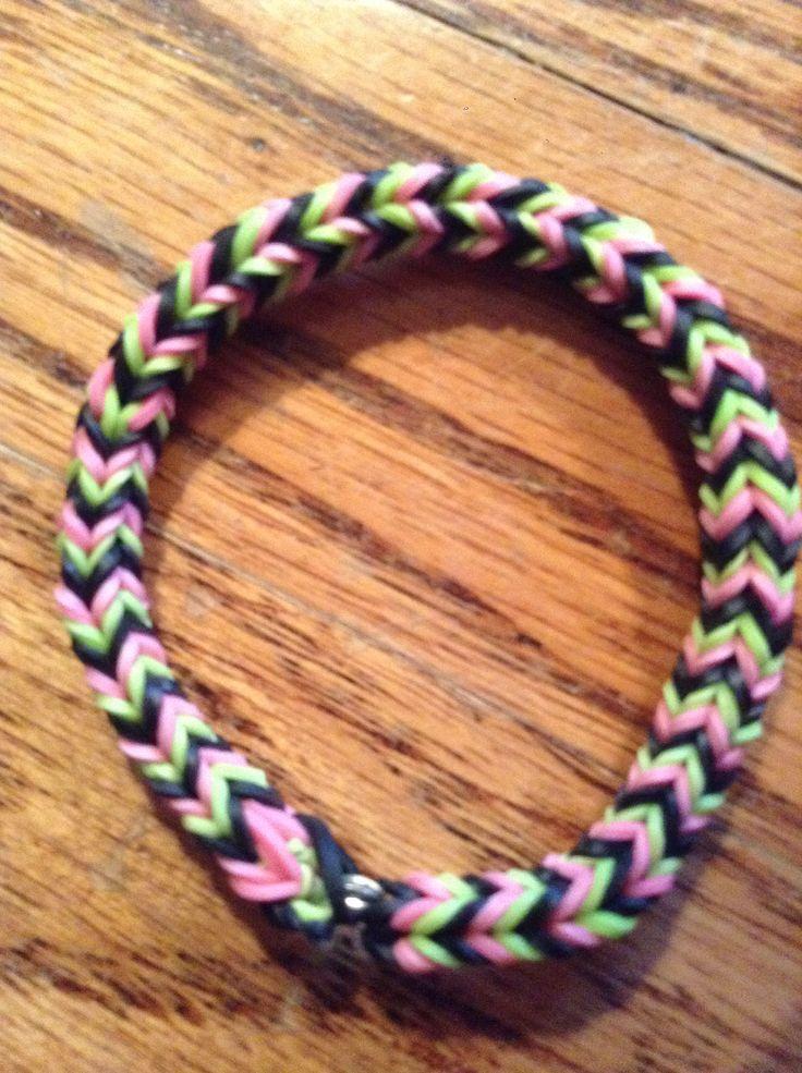 Pink Black And Green Rainbow Loom Bracelet Fishtail