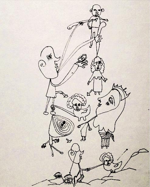 Lebensdaten der argentinischen Künstlerin Laura Gewisgold, von welcher diese attraktive und lockere,1976 entstandene Zeichnung, die auf Ebay angeboten wurde, stammt, sind nicht bekannt.