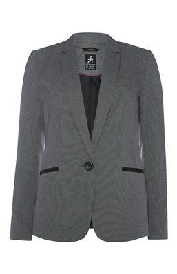Grijze blazer met zwarte accenten op de zakken