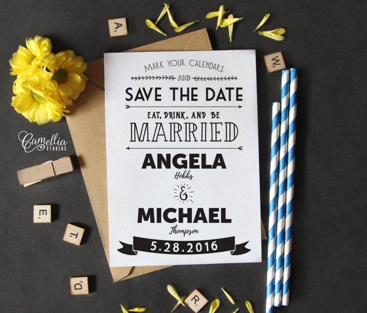 Printable Rustic Typography Save The Date | Customized Printable Vintage Eco Wedding Bohemian Floral Kraft Save The Date by CamelliaStudios on Etsy https://www.etsy.com/listing/273135606/printable-rustic-typography-save-the