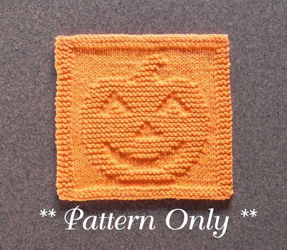 PUMPKIN Knit Dishcloth Pattern PDF Instant by AuntSusansCloset