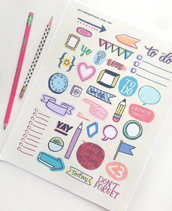 Planificador imprimible Doodles - descarga inmediata - organización, diario, agenda, planificador, Notebook