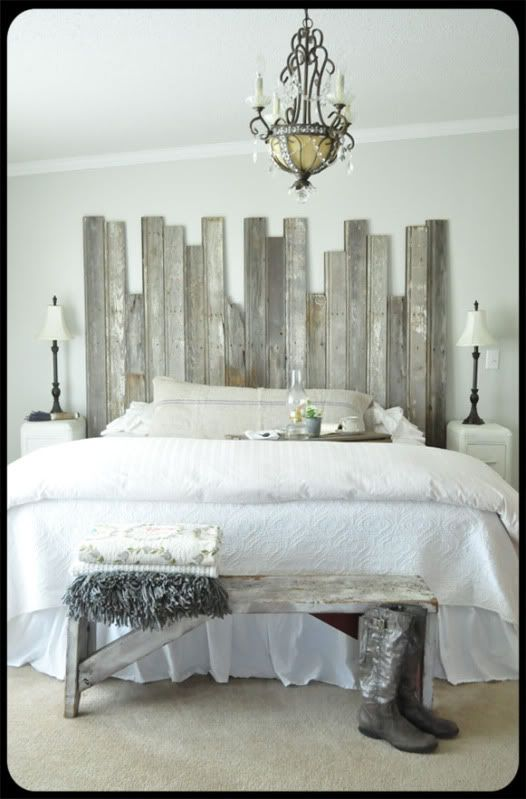 {Rustic, chippy} headboard, chandelier, boots.  Ahhh.... | The Old Painted Cottage