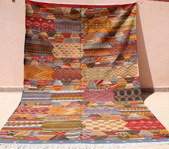 groer farbenfroher kelim teppich gelb blau kelimteppich 200x300 marokkanischer teppich 2x3 kinderzimmer teppich handgewebter teppich