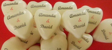 These personalized heart are our number one seller for wedding favours!  Match them with a solid heart, or package them with another product.  Great ideas start here!